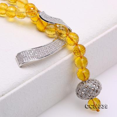Stylish 10-10.5mm Round Citrine Necklace with Zircon Accessories CCN039 Image 6