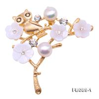 Delicate Shell Flower Owl & 8mm Freshwater Pearl Brooch FB089-1