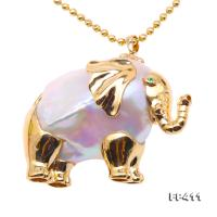 Gorgeous Elephant-Shape Top-grade Baroque Pearl Pendant in 18k Gold FP411