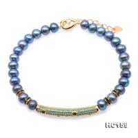 Fashionable 6-6.5mm Blue Pearl Stretchy Bracelet HC159