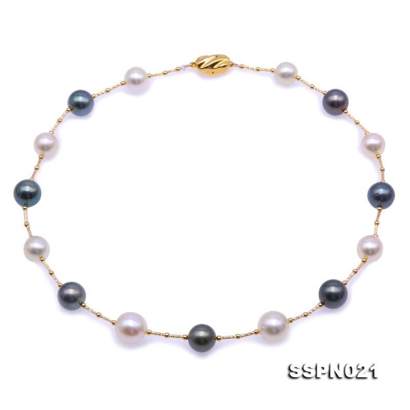 Magnificent 9.5-12.5mm South Sea White Pearl & Tahitian Pearl Necklace big Image 3