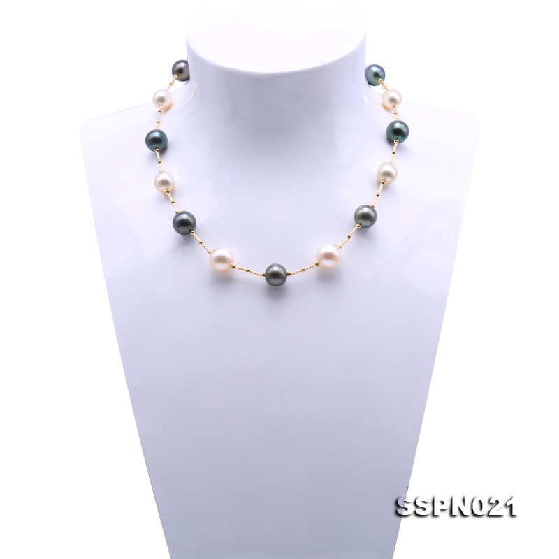 Magnificent 9.5-12.5mm South Sea White Pearl & Tahitian Pearl Necklace big Image 4