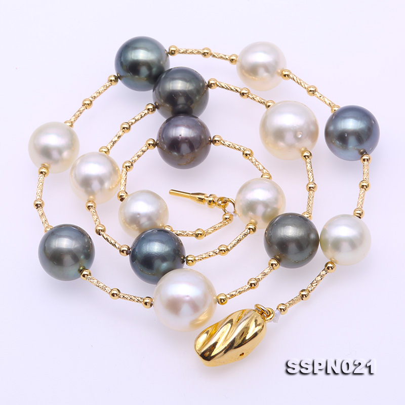 Magnificent 9.5-12.5mm South Sea White Pearl & Tahitian Pearl Necklace big Image 6