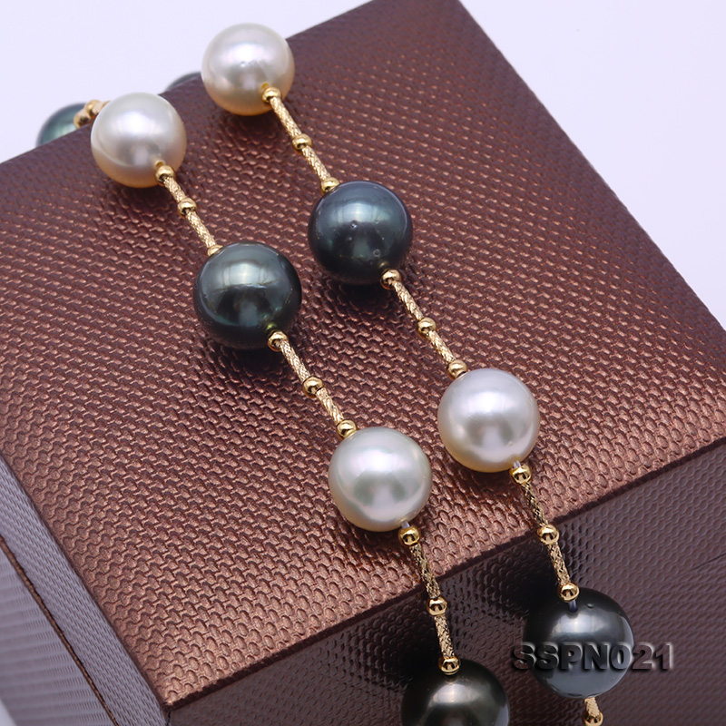 Magnificent 9.5-12.5mm South Sea White Pearl & Tahitian Pearl Necklace big Image 8