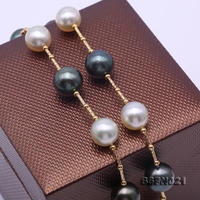 Magnificent 9.5-12.5mm South Sea White Pearl & Tahitian Pearl Necklace SSPN021 Image 8