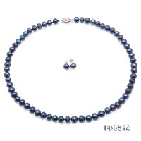 High Quality 7.5-8.5mm Black Pearl Necklace Earrings Set FPS314