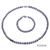 Classical 7-8mm Gray-Blue Pearl Necklace Bracelet Set FPS315