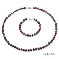 Classical 7-8mm Brown Pearl Necklace Bracelet Set FPS312