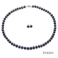 7-8mm Peacock Blue Freshwater Pearl Necklace and Earrings Set FPS291