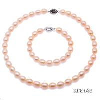 Beautiful 8-9mm Pink Oval Freshwater Pearl Necklace and Bracelet RFS145