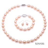 Top Quality 10-11mm Natural Pink Pearl Necklace Bracelet & Earrings RFS138