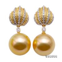 Luxurious 12.5mm Golden South Sea Pearl Stud Earrings in 18K Gold & Diamonds SSE086