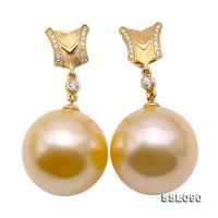 Luxurious Huge 16mm Golden South Sea Pearl Earrings in 18k Gold & Diamond SSE090