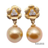 Gorgeous 10mm Golden South Sea Pearl Dangling Earrings in 18k Gold & Diamonds SSE095