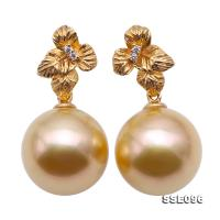 Gorgeous 11.5mm Golden South Sea Pearl Dangling Earrings in 18k Gold & Diamonds SSE096
