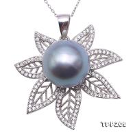 Exquisite 13.5mm Tahitian Grayish Black Pearl Pendant in 925 Sterling Silver TPP209