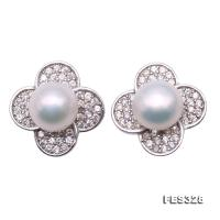Exquisite 7mm White Freshwater Pearl Stud Earrings in Sterling Silver FES328