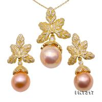 Lustrous Big Size 12.5×15.5-14.5×18mm Pink Baroque Pearl Pendant & Earrings FNT317