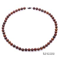 Beautiful 8-9mm Coffee Round Pearl Necklace RPN400