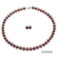 Beautiful 9-10mm Coffee Round Pearl Necklace and Earrings  RPS248