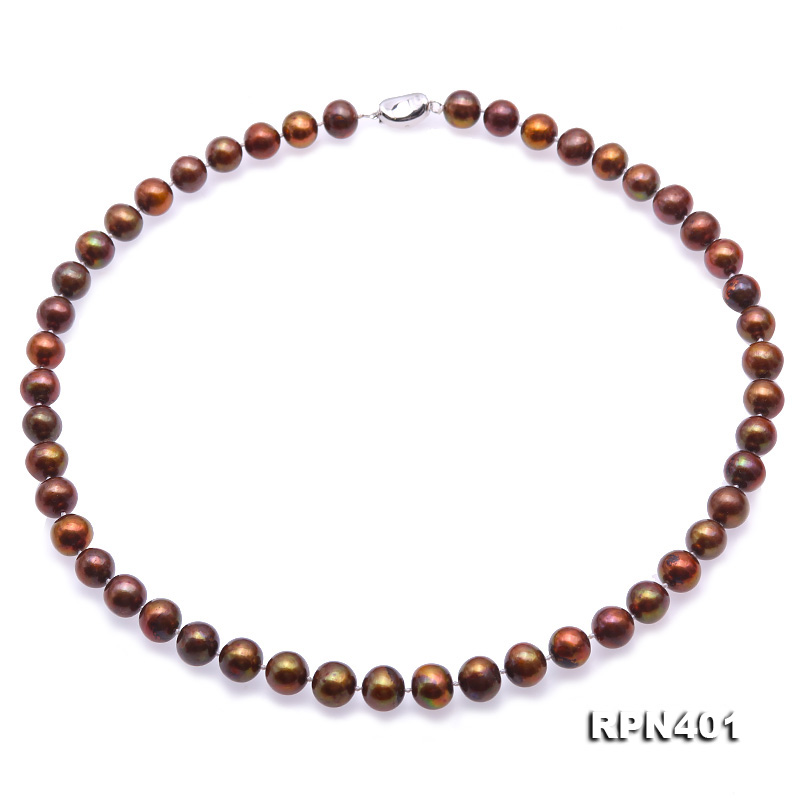 Beautiful 9-10mm Coffee Round Pearl Necklace big Image 1