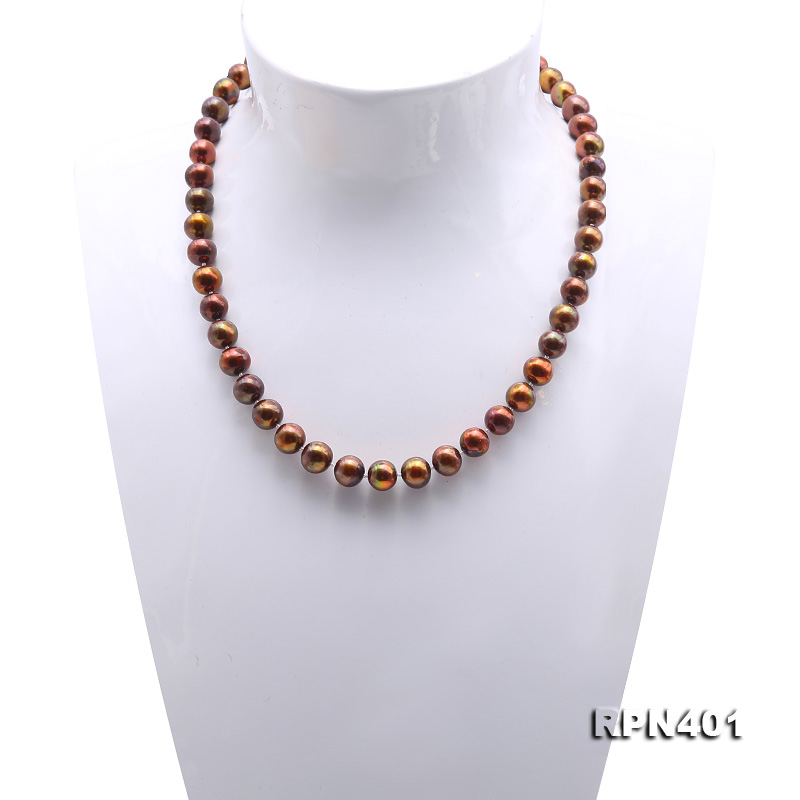 Beautiful 9-10mm Coffee Round Pearl Necklace big Image 2