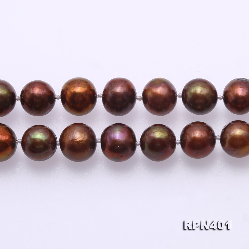 Beautiful 9-10mm Coffee Round Pearl Necklace big Image 3