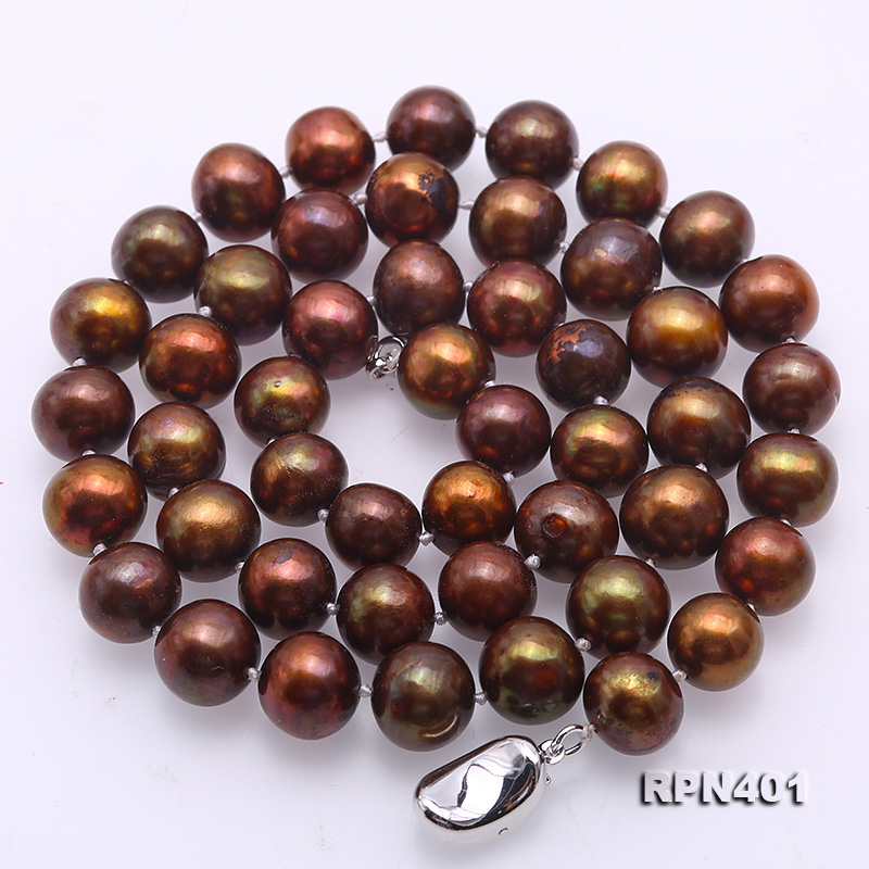 Beautiful 9-10mm Coffee Round Pearl Necklace big Image 4