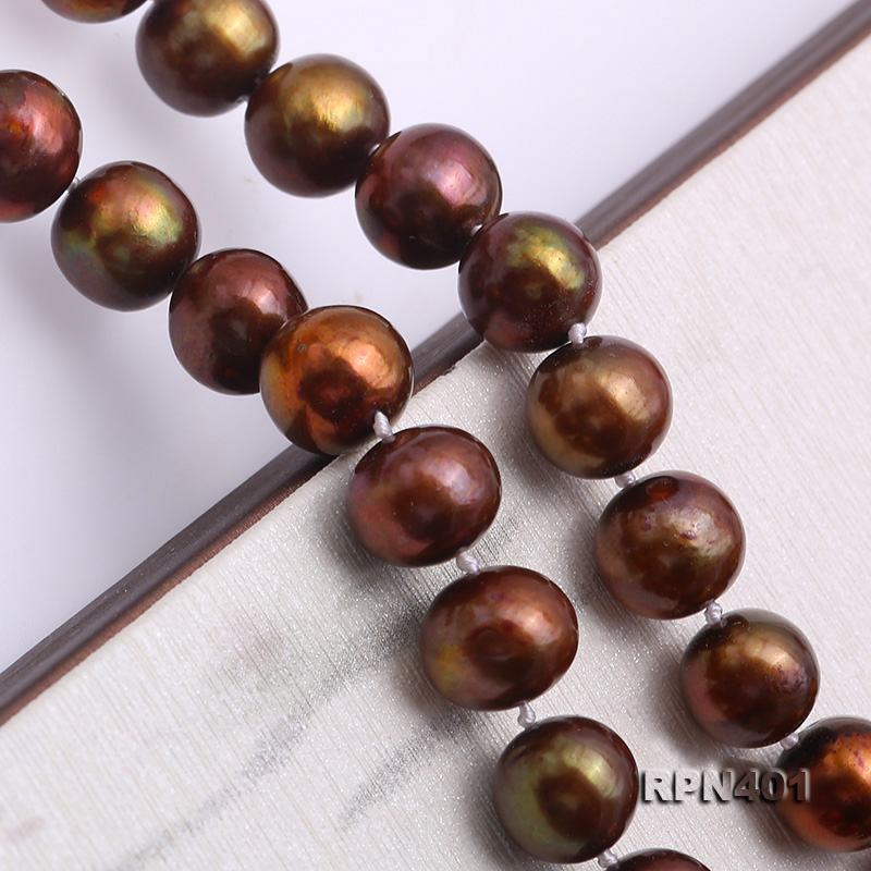 Beautiful 9-10mm Coffee Round Pearl Necklace big Image 5