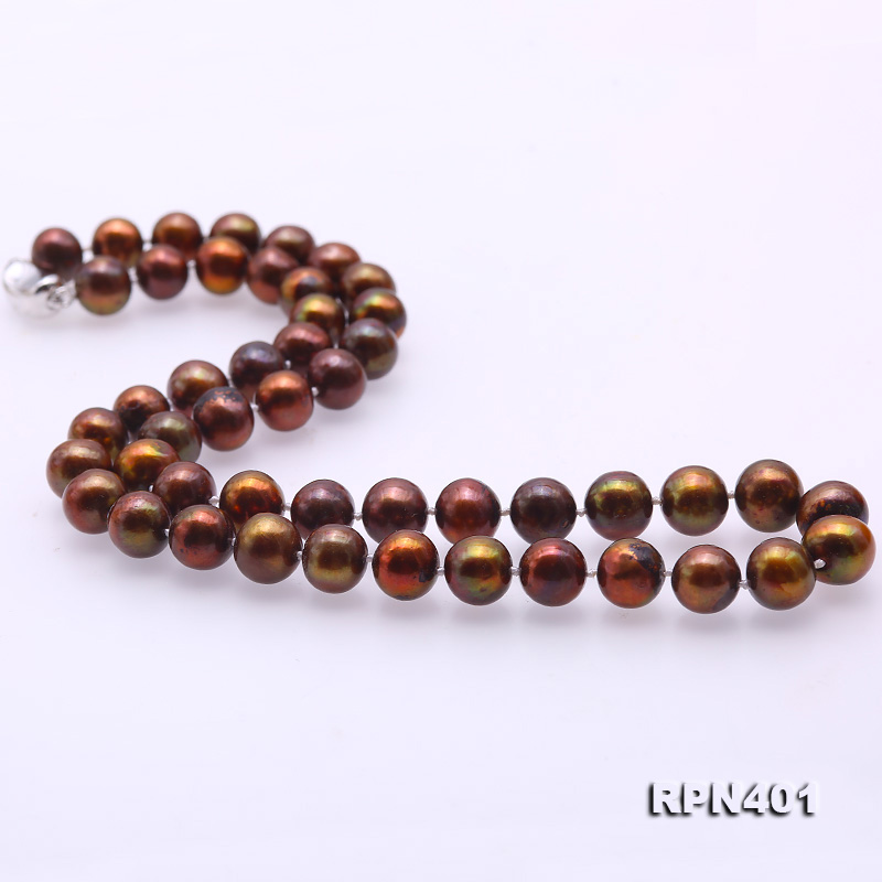 Beautiful 9-10mm Coffee Round Pearl Necklace big Image 6