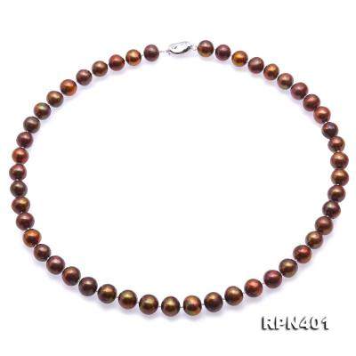 Beautiful 9-10mm Coffee Round Pearl Necklace RPN401 Image 1