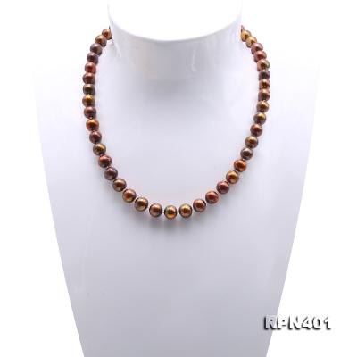 Beautiful 9-10mm Coffee Round Pearl Necklace RPN401 Image 2