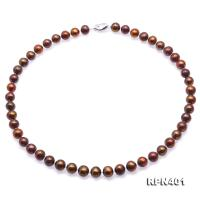 Beautiful 9-10mm Coffee Round Pearl Necklace RPN401