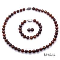 Beautiful 9-10mm Coffee Round Pearl Necklace Bracelet Earrings Set RPS249