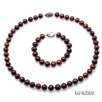 Beautiful 9-10mm Coffee Round Pearl Necklace and Bracelet RPS250
