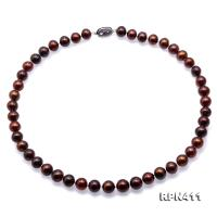 Beautiful 9-10mm Coffee Round Pearl Necklace RPN411