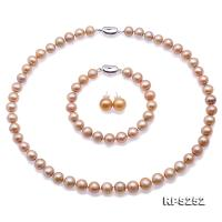 Beautiful 9-10mm Champagne Round Pearl Necklace Bracelet Earrings Set RPS252