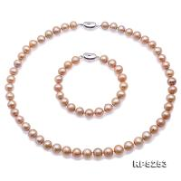 Beautiful 9-10mm Champagne Round Pearl Necklace and Bracelet RPS253