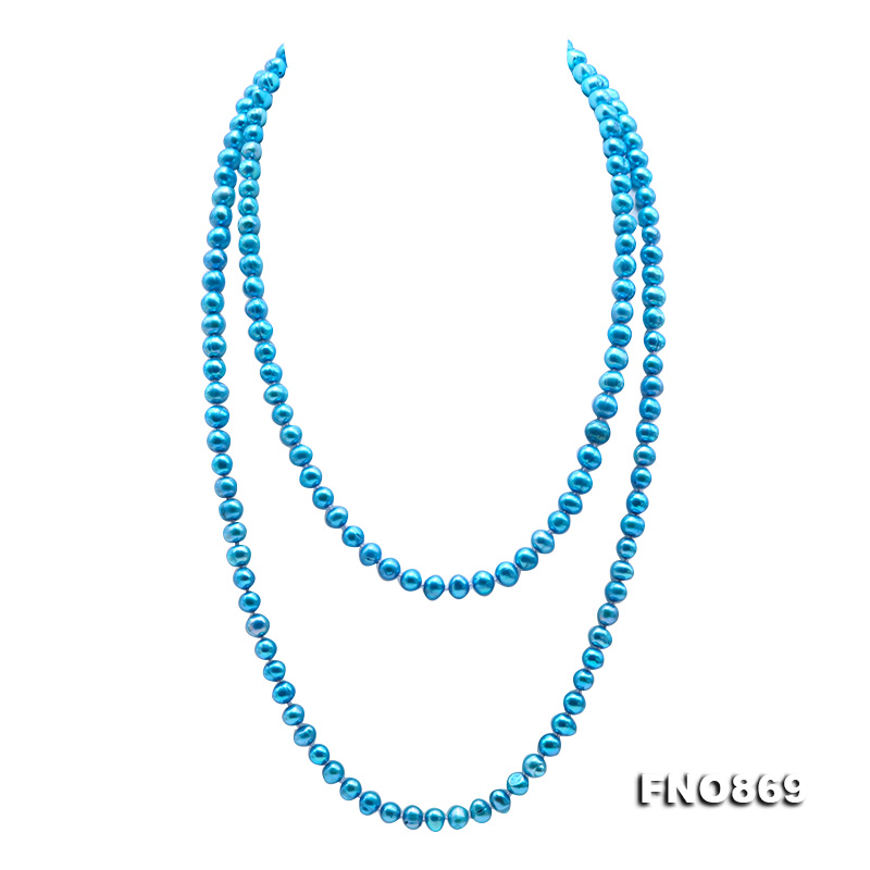 Casual Style 7-8mm Blue Freshwater Pearl Long Necklace big Image 1