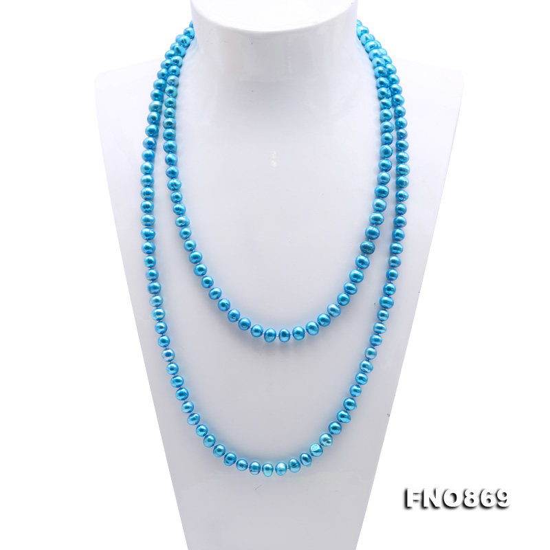 Casual Style 7-8mm Blue Freshwater Pearl Long Necklace big Image 2