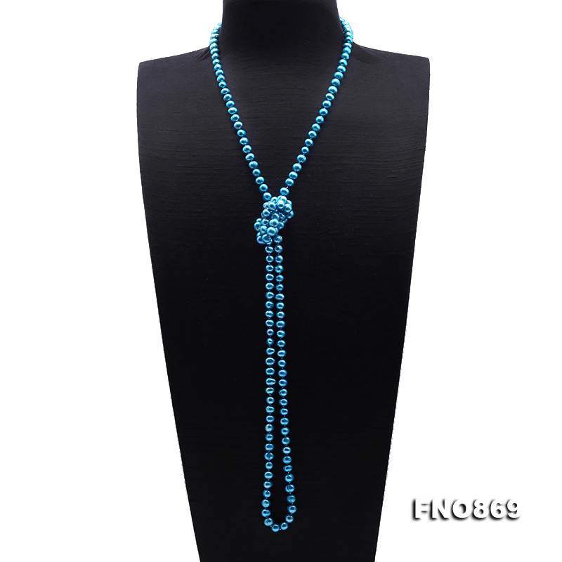 Casual Style 7-8mm Blue Freshwater Pearl Long Necklace big Image 3