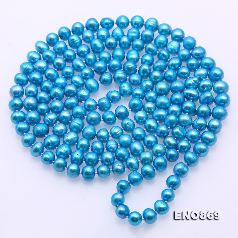 Casual Style 7-8mm Blue Freshwater Pearl Long Necklace big Image 5