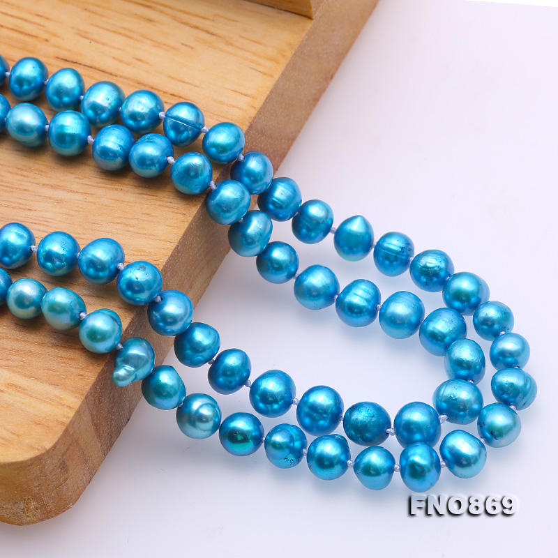 Casual Style 7-8mm Blue Freshwater Pearl Long Necklace big Image 7
