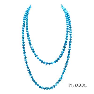 Casual Style 7-8mm Blue Freshwater Pearl Long Necklace FNO869 Image 1