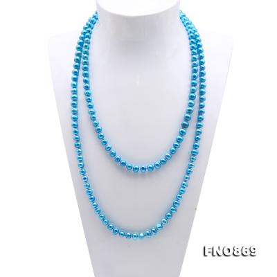 Casual Style 7-8mm Blue Freshwater Pearl Long Necklace FNO869 Image 2