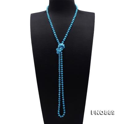 Casual Style 7-8mm Blue Freshwater Pearl Long Necklace FNO869 Image 3
