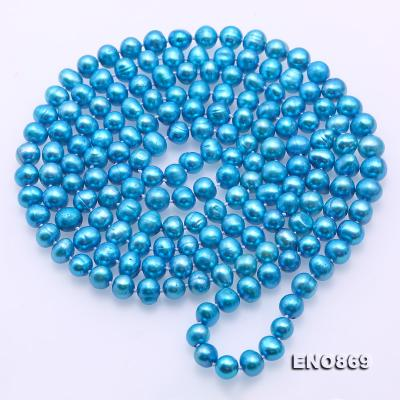 Casual Style 7-8mm Blue Freshwater Pearl Long Necklace FNO869 Image 5