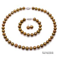 Beautiful 9.5-11.5mm Bronze  Pearl Necklace Bracelet Earrings Set RPS255