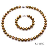 Beautiful 9.5-11.5mm Bronze  Pearl Necklace and Bracelet RPS256
