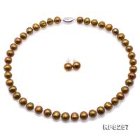 Beautiful 9.5-11.5mm Bronze  Pearl Necklace and Earrings Set RPS257